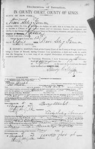 Forman, Levi S declaration 1895